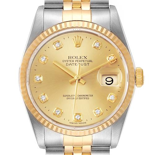 Photo of Rolex Datejust Steel Yellow Gold Diamond Mens Watch 16233
