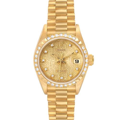 Photo of Rolex President 26 Yellow Gold Pyramid Bezel Diamond Ladies Watch 69268 plus one link and Box