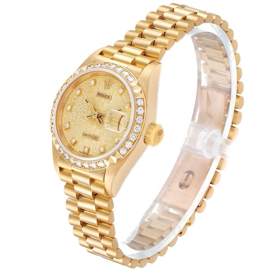 Rolex President 26 Yellow Gold Pyramid Bezel Diamond Ladies Watch 69268 plus one link and Box SwissWatchExpo