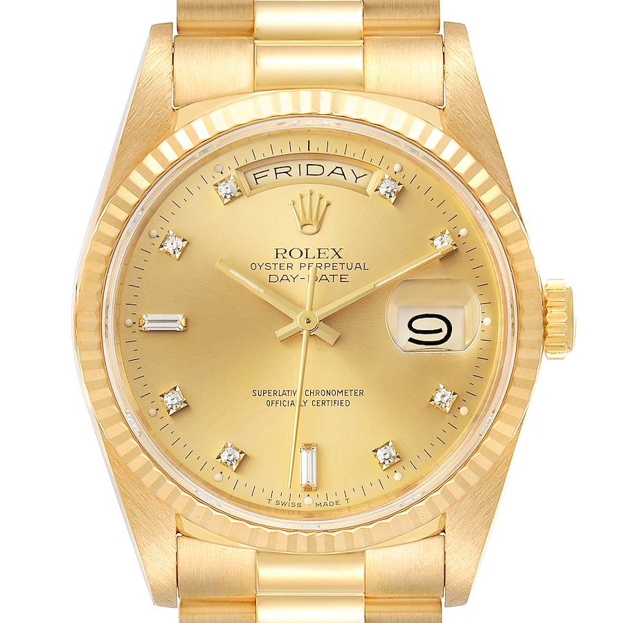 Rolex President Day-Date 36mm Yellow Gold Diamond Mens Watch 18238 SwissWatchExpo