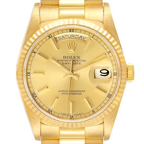 Photo of Rolex President Day Date Yellow Gold Diamond Mens Watch 18238