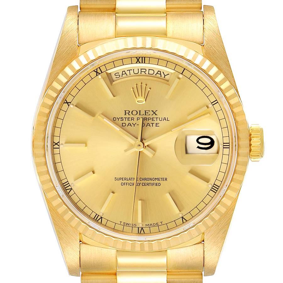 Rolex President Day Date Yellow Gold Diamond Mens Watch 18238 SwissWatchExpo