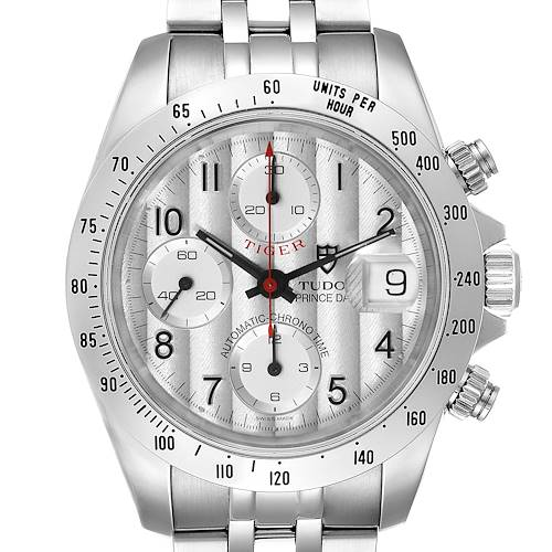Photo of Tudor Tiger Woods Chronograph Silver Dial Steel Mens Watch 79280 Box Papers