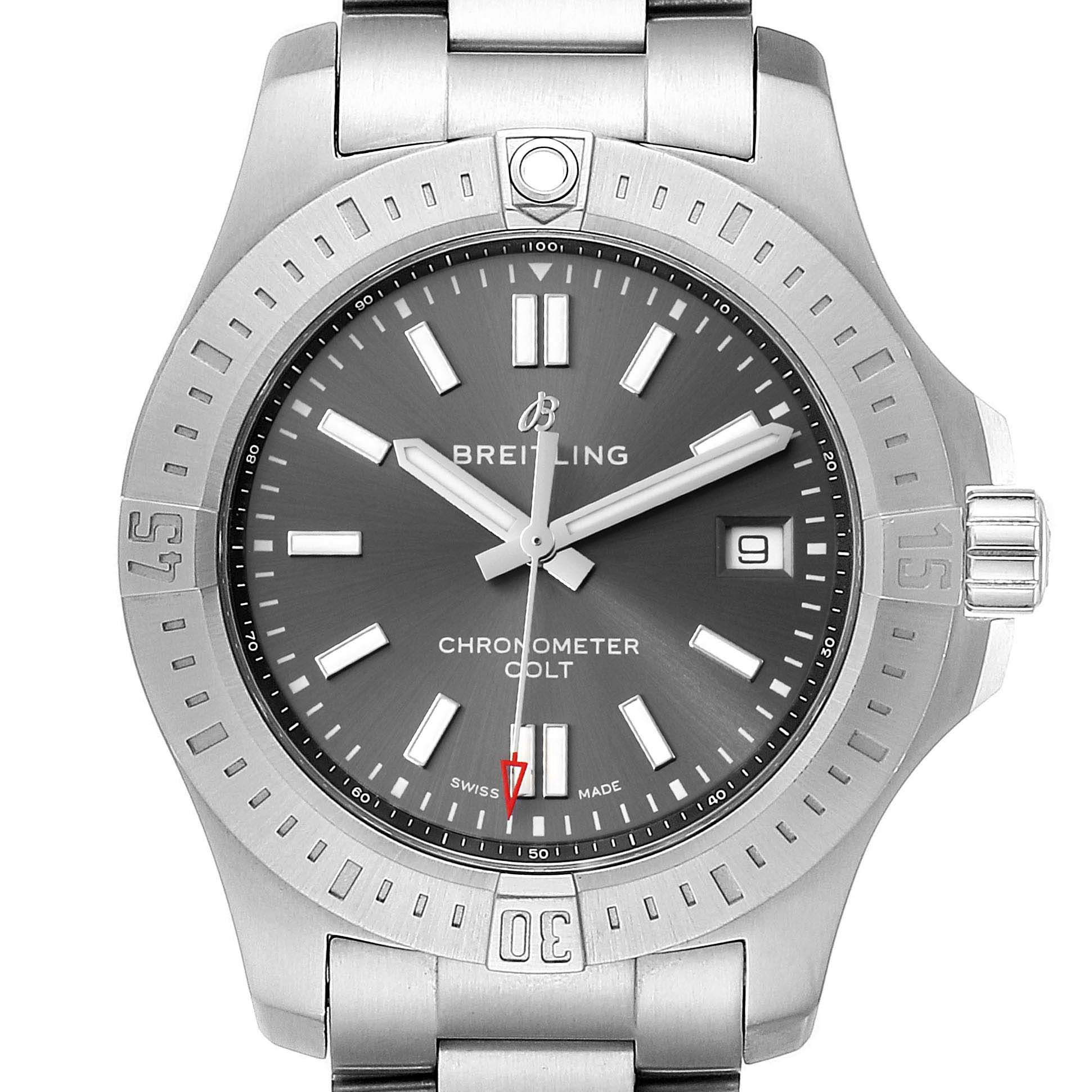 Breitling Colt Grey Dial Automatic Steel Mens Watch A17313 Box Card SwissWatchExpo