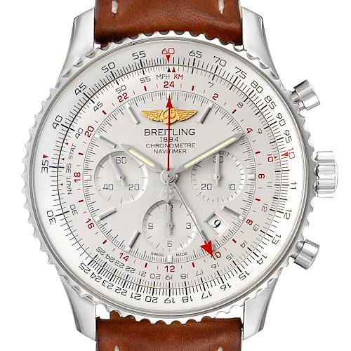 Photo of Breitling Navitimer GMT 48 Silver Dial Steel Mens Watch AB0441