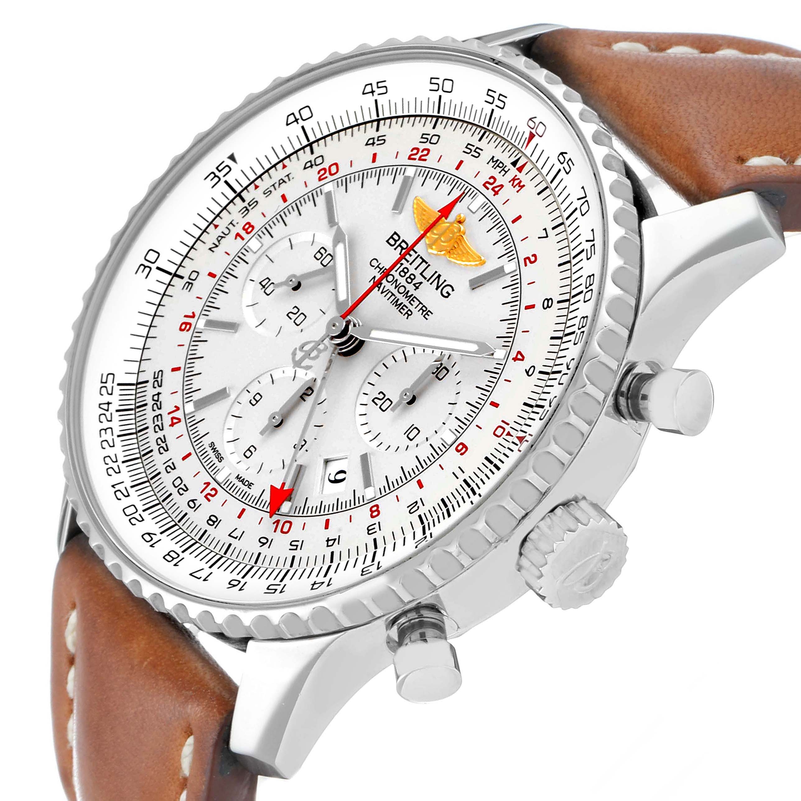 Breitling Navitimer GMT 48 Silver Dial Steel Mens Watch AB0441 SwissWatchExpo