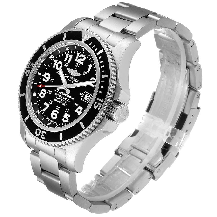 Breitling Superocean II 44 Black Dial Steel Mens Watch A17392 SwissWatchExpo