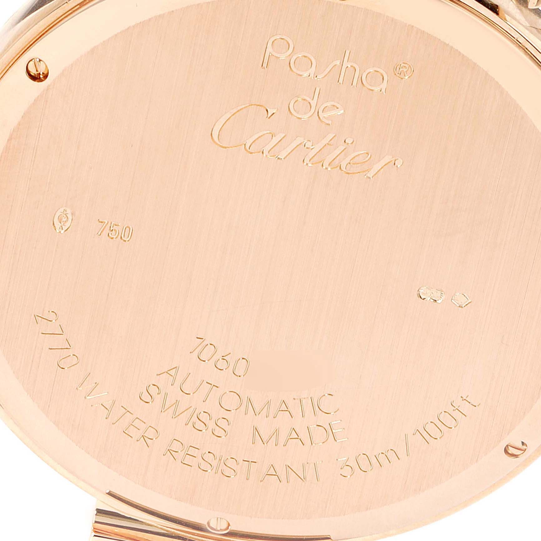 Cartier Pasha 42 Silver Dial Rose Gold Mens Watch W3019351 Box Papers SwissWatchExpo