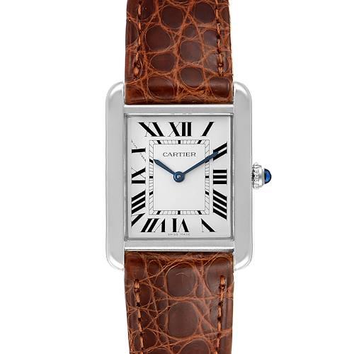 Photo of Cartier Tank Solo Steel Brown Strap Quartz Ladies Watch W1018255