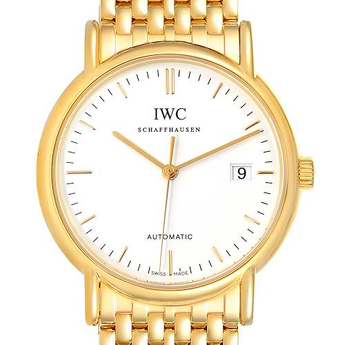 Photo of IWC Portofino White Dial Mesh Bracelet Yellow Gold Mens Watch IW925101