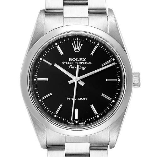 Photo of Rolex Air King 34 Black Dial Domed Bezel Steel Mens Watch 14000