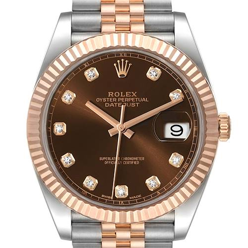 Photo of Rolex Datejust 41 Steel Everose Gold Chocolate Diamond Dial Watch 126331