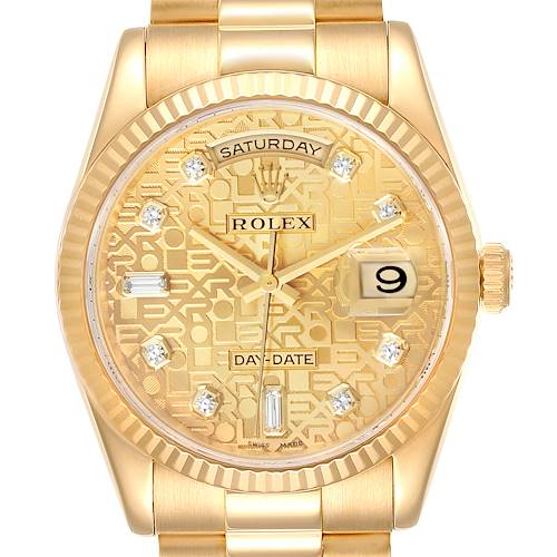Photo of Rolex President Day-Date Yellow Gold Diamond Dial Mens Watch 118238