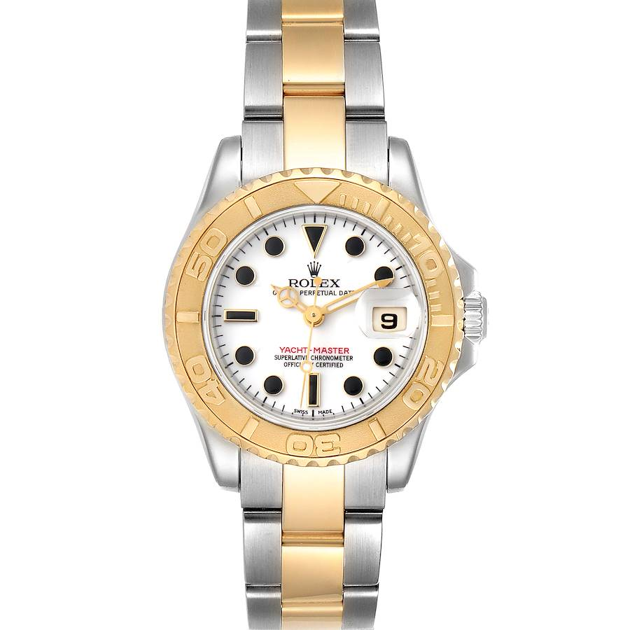 Rolex Yachtmaster 29mm White Dial Steel Yellow Gold Ladies Watch 169623 SwissWatchExpo