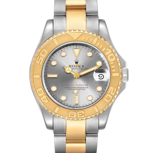 Photo of Rolex Yachtmaster 35 Midsize Steel Yellow Gold Slate Dial Watch 68623