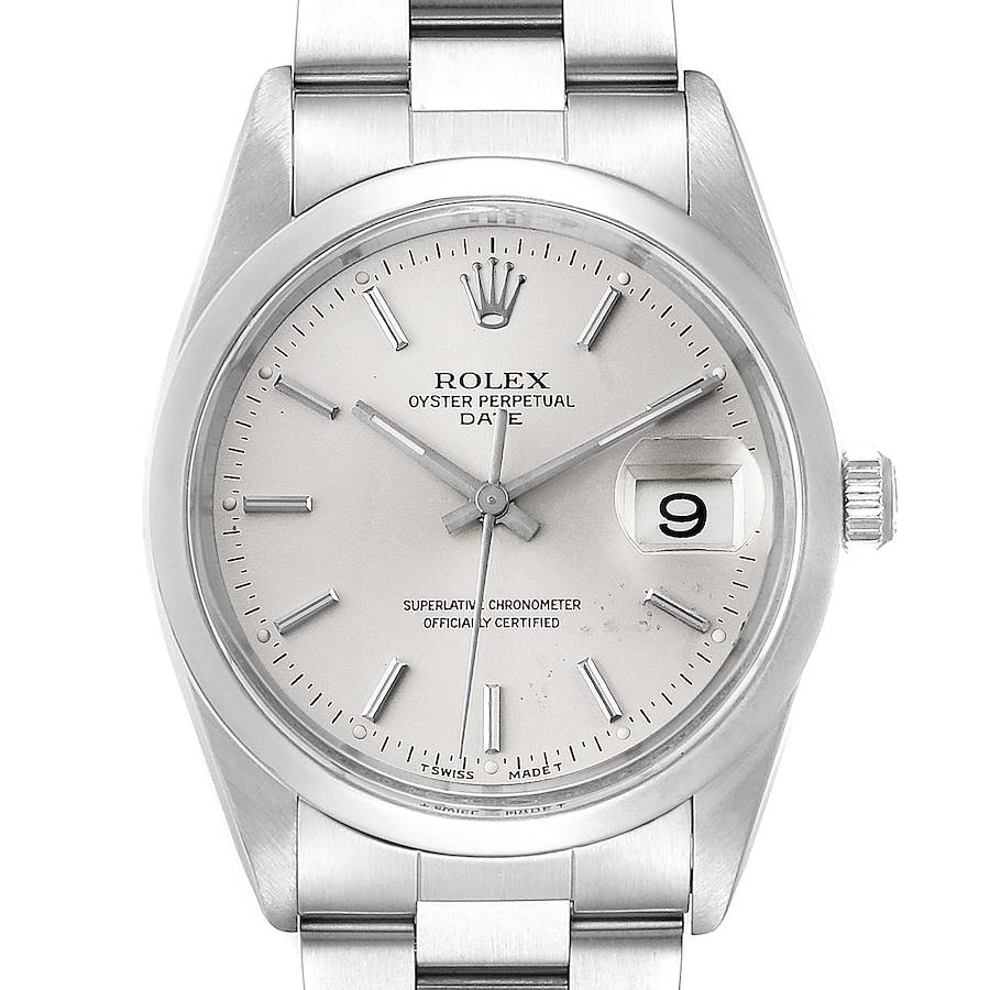 Rolex Date Stainless Steel Silver Dial Mens Watch 15200 SwissWatchExpo