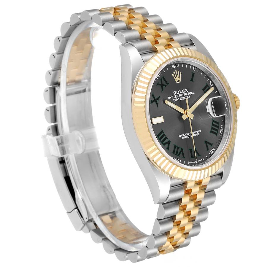 Rolex Datejust 41 Steel Yellow Gold Grey Dial Green Numerals Mens Watch 126333 SwissWatchExpo
