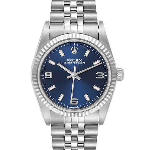 Photo of Rolex Midsize Steel White Gold Blue Dial Ladies Watch 77014