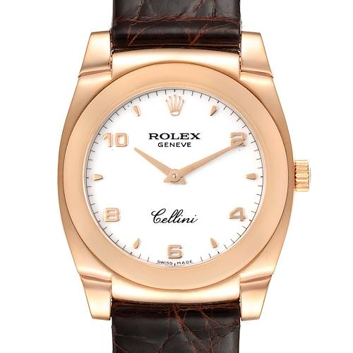 Rolex Cellini Cestello Rose Gold White Dial Ladies Watch 5320