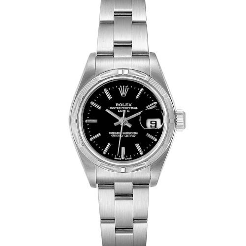 Rolex Date 26 Stainless Steel Black Baton Dial Ladies Watch 79190