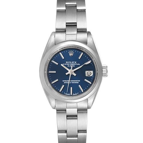 Photo of Rolex Date Blue Dial Oyster Bracelet Steel Ladies Watch 6916