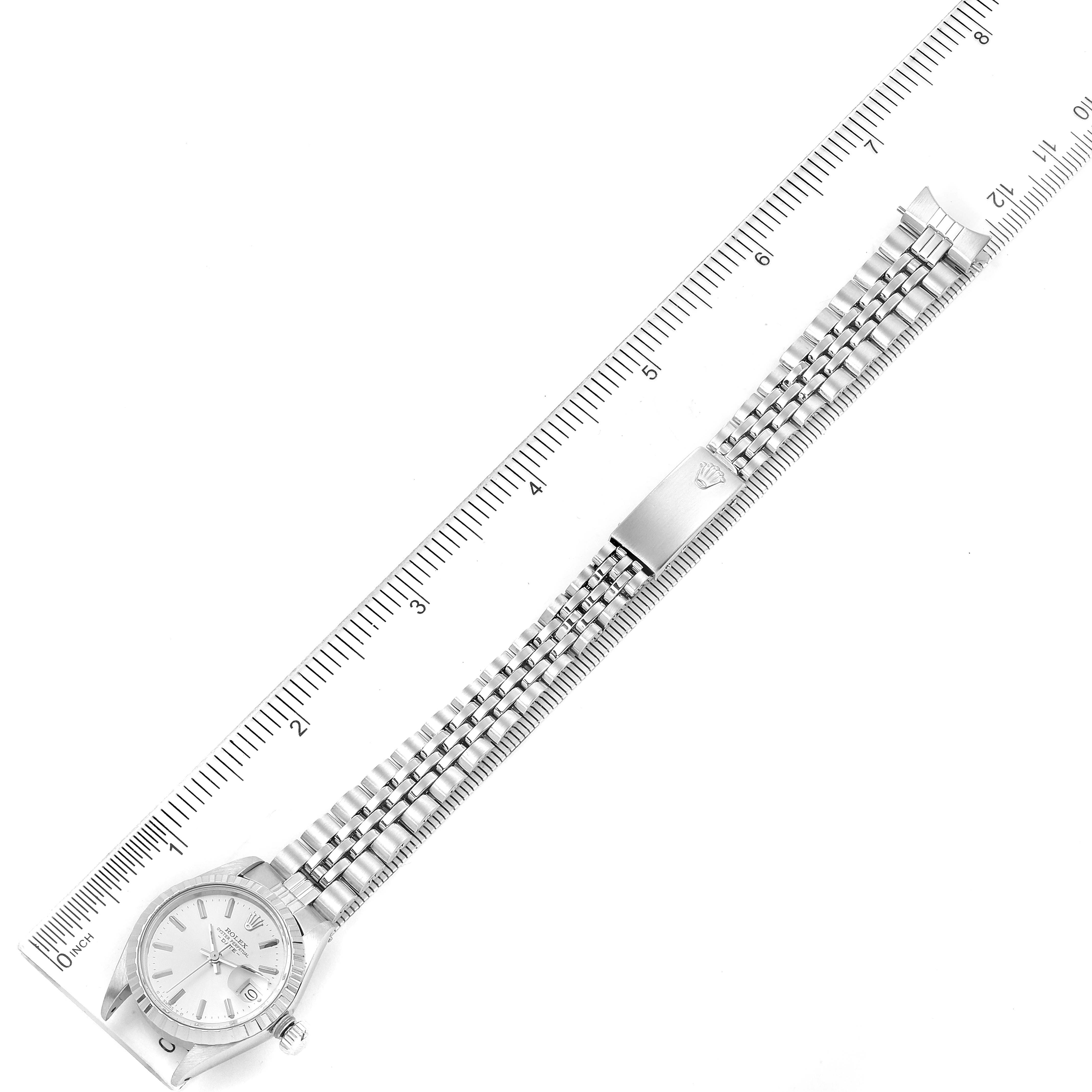 Rolex Date Silver Baton Dial Automatic Steel Ladies Watch 6924 SwissWatchExpo
