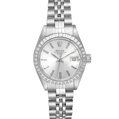 Photo of Rolex Date Silver Baton Dial Automatic Steel Ladies Watch 6924