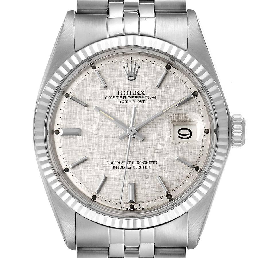 Rolex Datejust Steel White Gold Linen Dial Vintage Mens Watch 1601 SwissWatchExpo