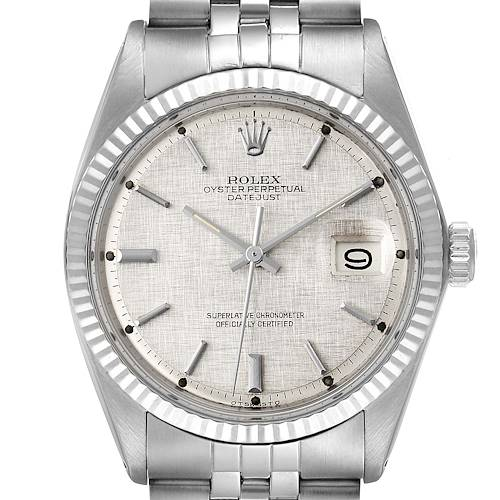 Photo of Rolex Datejust Steel White Gold Linen Dial Vintage Mens Watch 1601