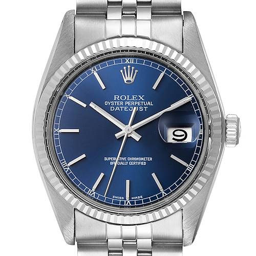 Photo of Rolex Datejust Vintage Steel White Gold Blue Dial Mens Watch 16014