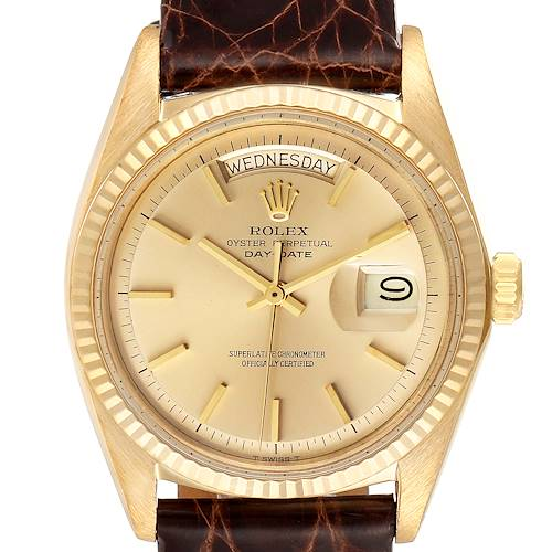 Photo of Rolex President Day-Date Vintage Yellow Gold Brown Strap Mens Watch 1803