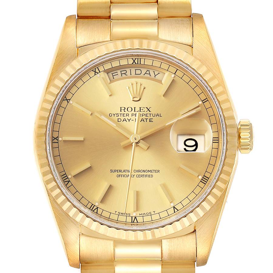 Rolex President Day Date Yellow Gold Champagne Dial Mens Watch 18238 SwissWatchExpo