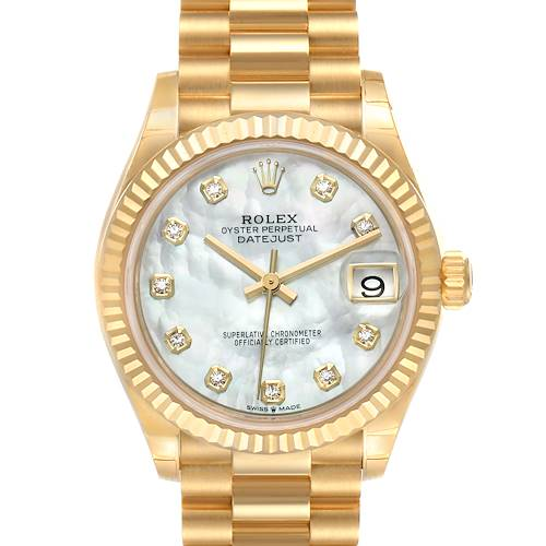 Photo of Rolex President Midsize 18K Yellow Gold Diamond Ladies Watch 278278 Unworn