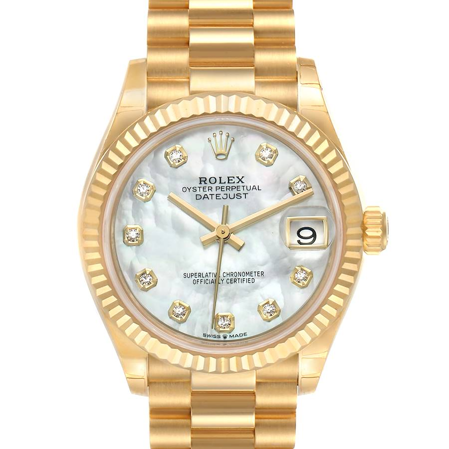 Rolex President Midsize 18K Yellow Gold Diamond Ladies Watch 278278 Unworn SwissWatchExpo