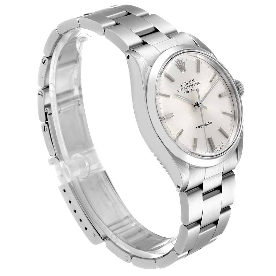Rolex Air King Vintage Stainless Steel Silver Dial Mens Watch 5500 SwissWatchExpo