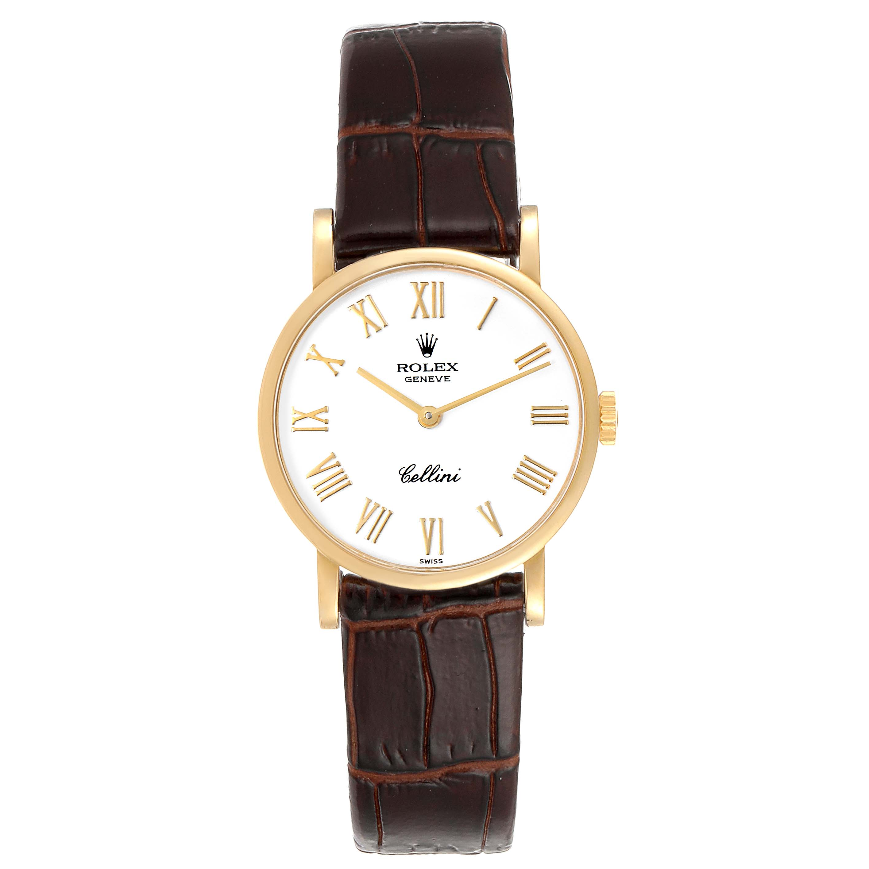 Rolex Cellini Classic Yellow Gold Brown Strap Ladies Watch 5109 SwissWatchExpo