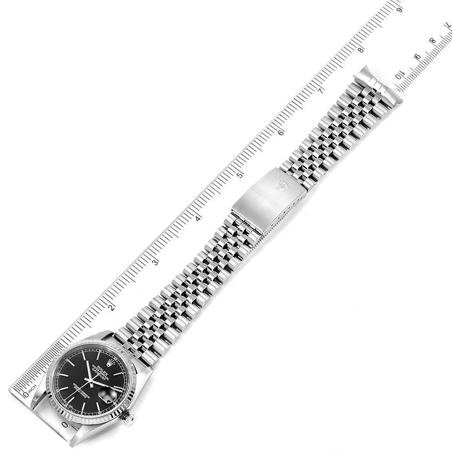 Rolex Datejust 36 Steel White Gold Black Dial Mens Watch 16234 SwissWatchExpo