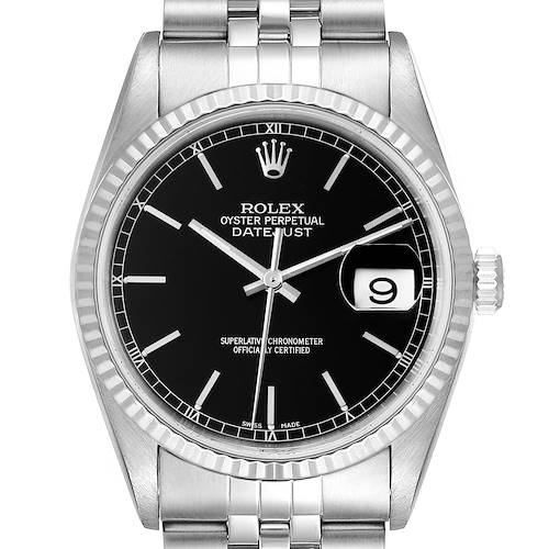Photo of Rolex Datejust 36 Steel White Gold Black Dial Mens Watch 16234