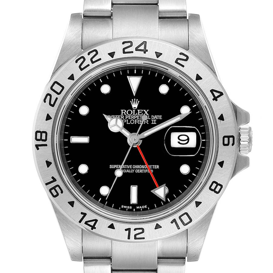 Rolex Explorer II Black Dial Automatic Steel Mens Watch 16570 SwissWatchExpo