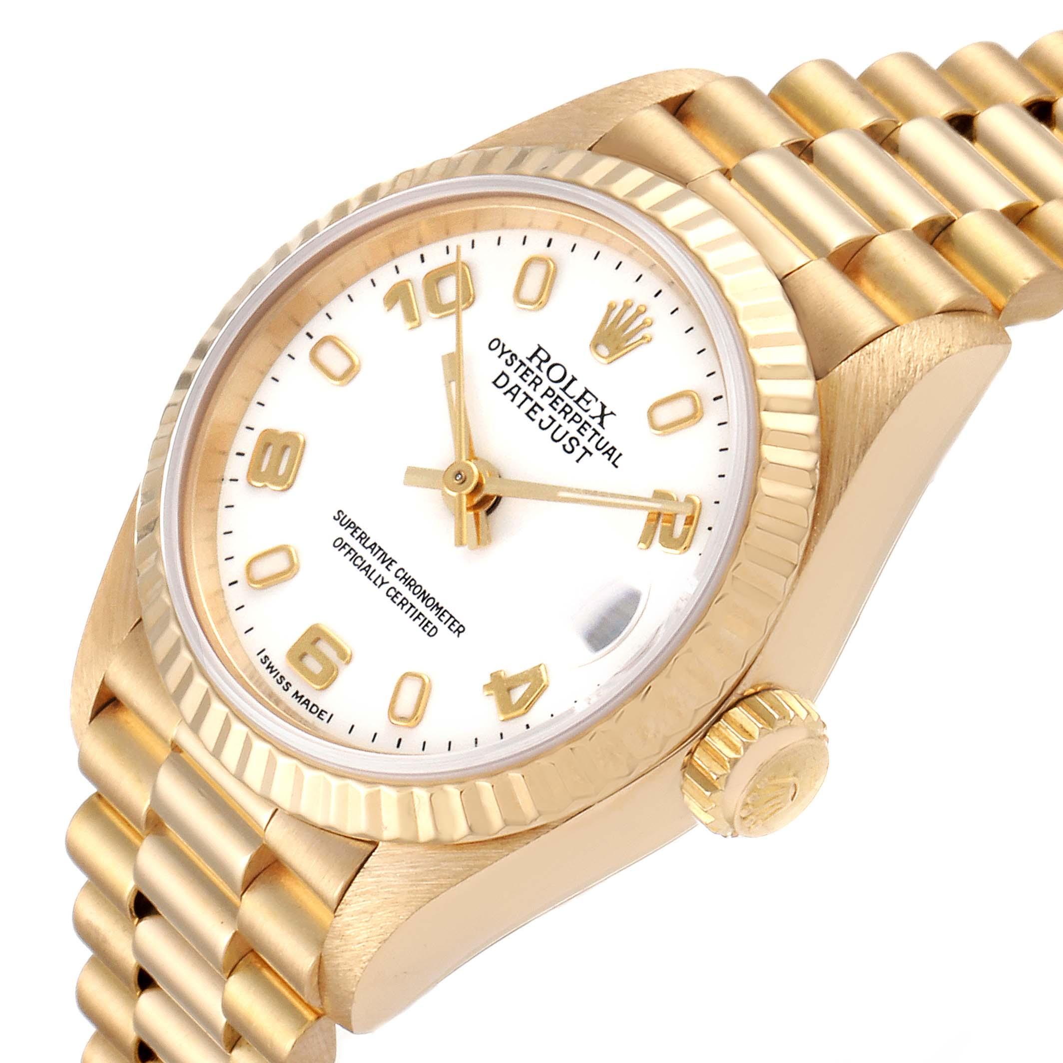 Rolex President Datejust 26 Yellow Gold White Dial Ladies Watch 69178 SwissWatchExpo