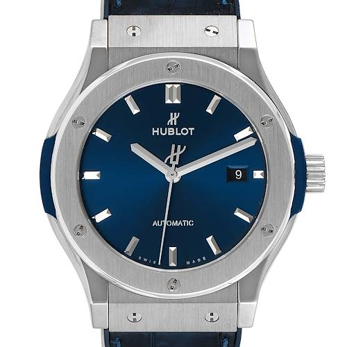 Photo of Hublot Classic Fusion Titanium 42mm Blue Dial Mens Watch 542.NX.7170.LR