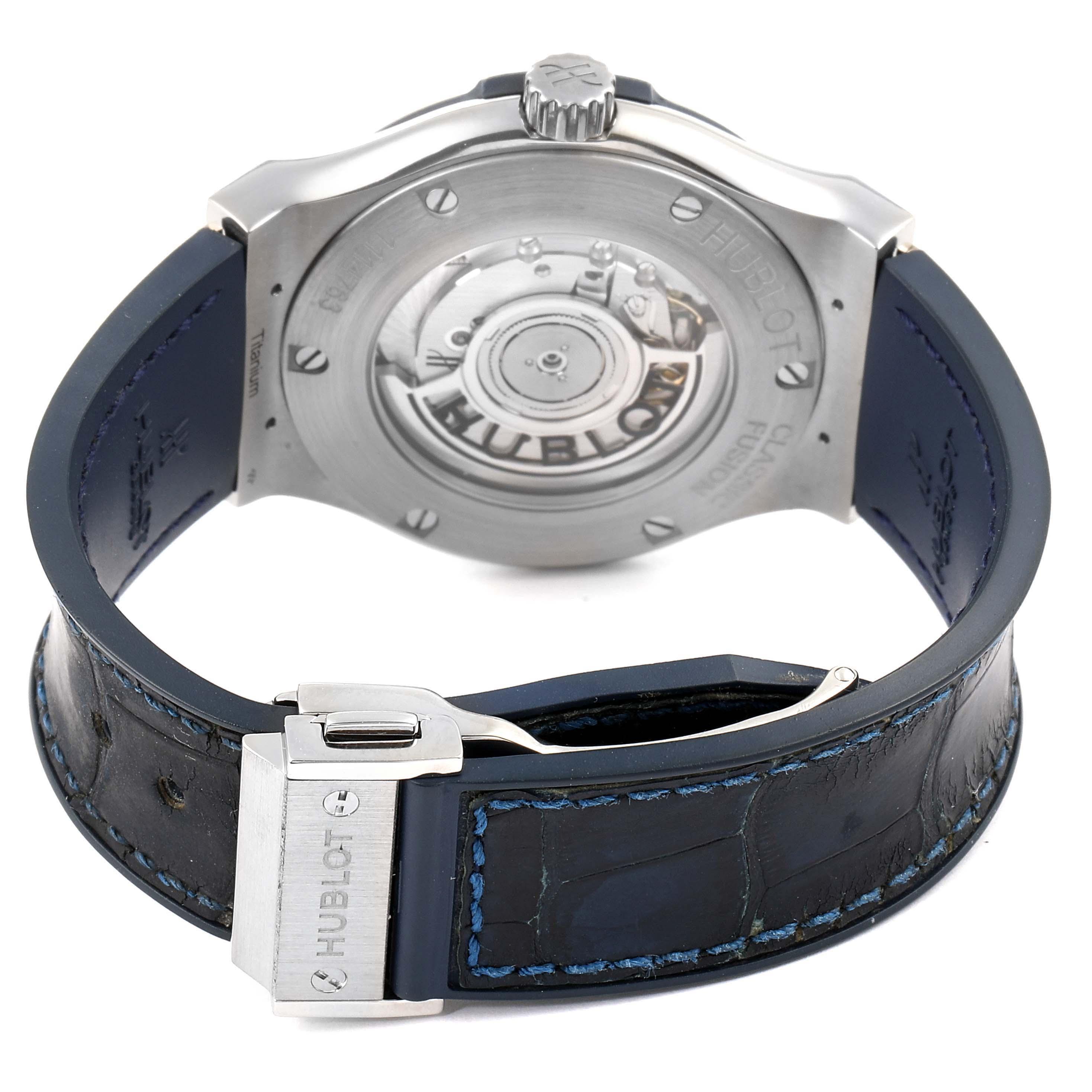 Hublot Classic Fusion Titanium 42mm Blue Dial Mens Watch 542.NX.7170.LR SwissWatchExpo