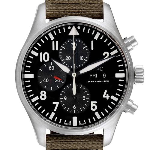 Photo of IWC Pilot Black Dial Men's Chronograph Watch IW377709 Unworn
