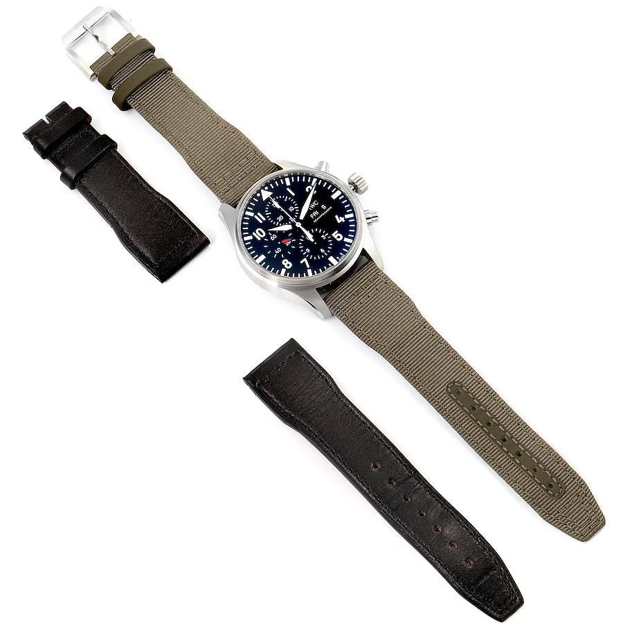 IWC Pilot Black Dial Men's Chronograph Watch IW377709 Unworn SwissWatchExpo
