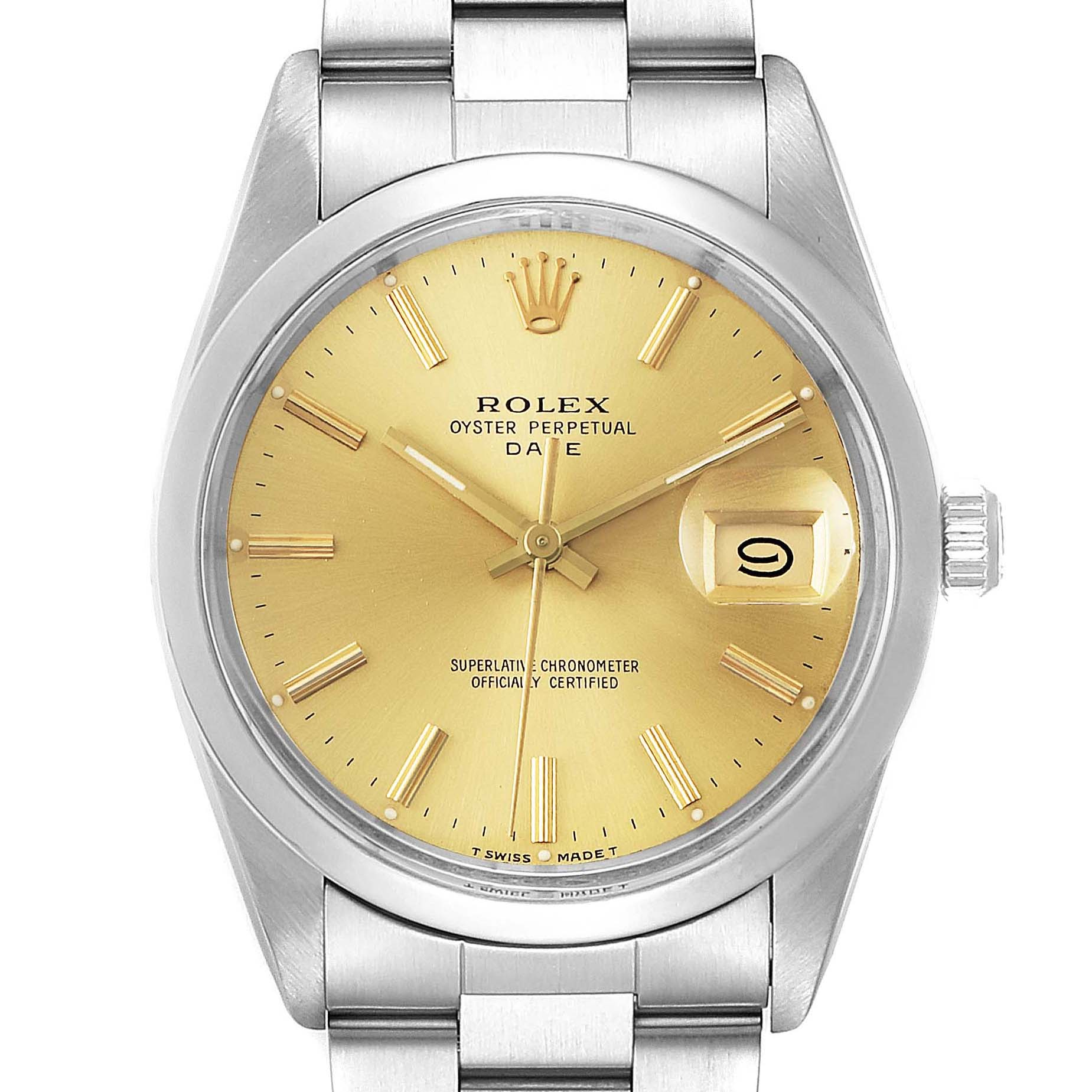 Rolex Date Stainless Steel Champagne Dial Vintage Mens Watch 15000 SwissWatchExpo