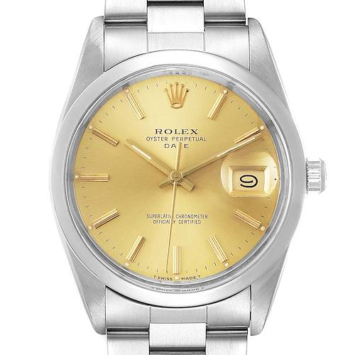 Photo of Rolex Date Stainless Steel Champagne Dial Vintage Mens Watch 15000