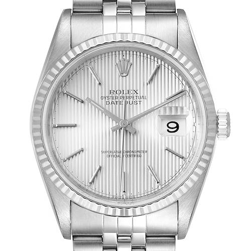 Photo of Rolex Datejust 36 Steel White Gold Tapestry Dial Mens Watch 16234