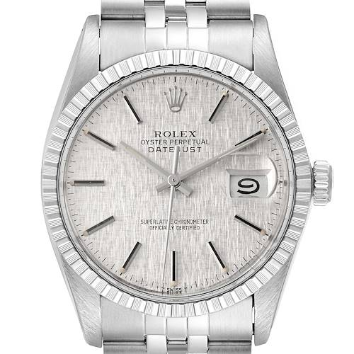 Photo of Rolex Datejust Silver Linen Dial Vintage Steel Mens Watch 16030