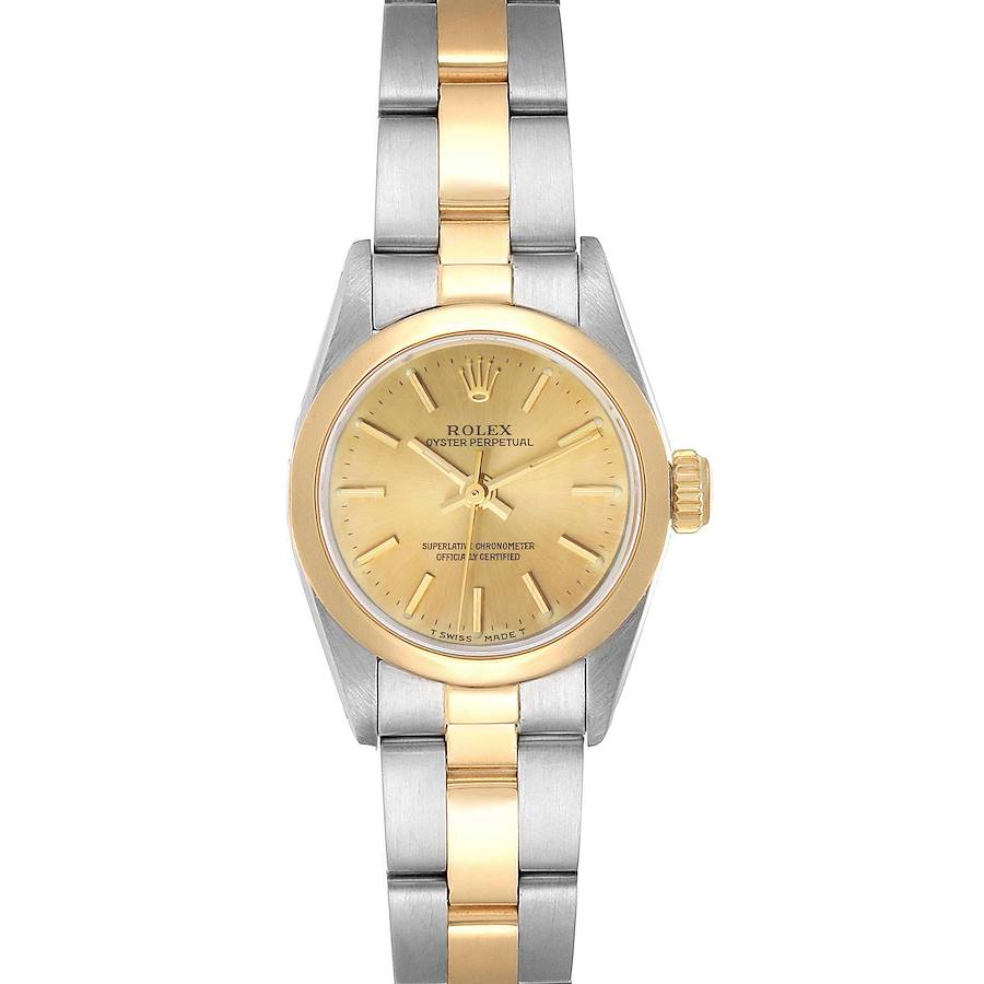 Rolex Oyster Perpetual NonDate Steel Yellow Gold Ladies Watch 67183 SwissWatchExpo