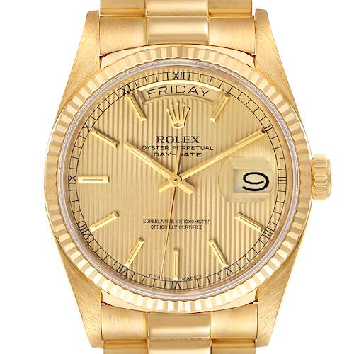 Photo of Rolex President Day-Date 36mm Yellow Gold Tapestry Dial Mens Watch 18038